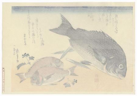 Black Sea Bream, Small Sea Bream, Asparagus Shoots, and Sansho Pepper by Hiroshige (1797 - 1858)