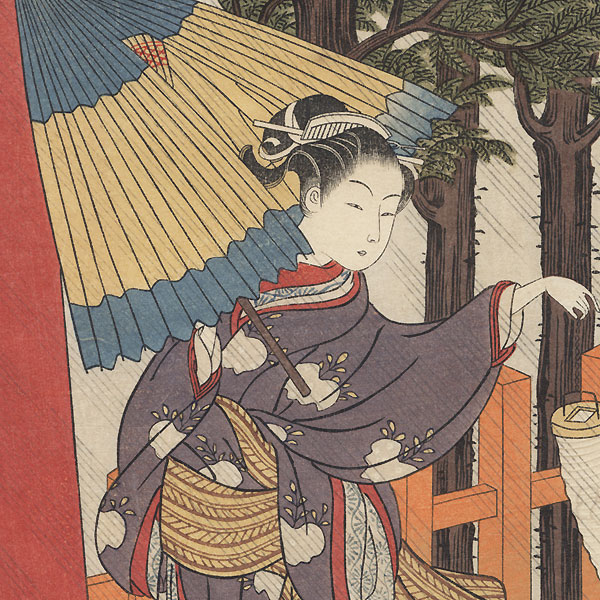 Driving Rain by Harunobu (1724 - 1770)