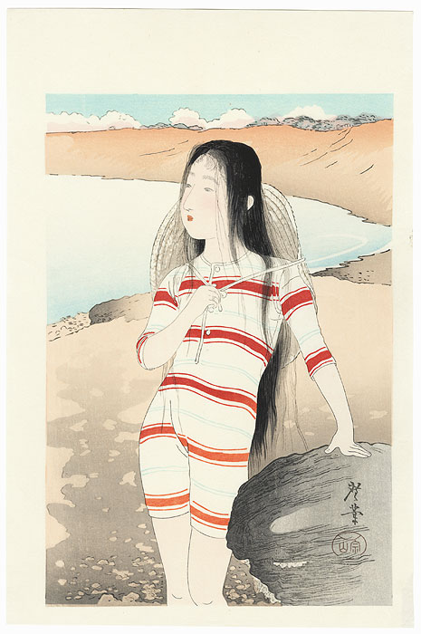 Sea-bathing Beauty Kuchi-e Print by Terazaki Kogyo (1866 - 1919)