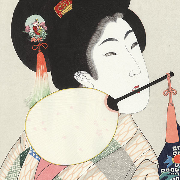 Beauty with an Insect Cage by Chikanobu (1838 - 1912)