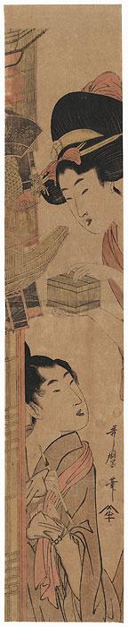 Young Couple Pillar Print by Utamaro (1750 - 1806)