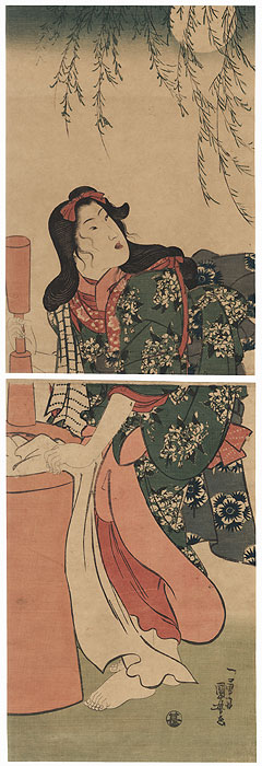 Beauty Washing Cloth by Moonlight Kakemono by Kuniyoshi (1797 - 1861)