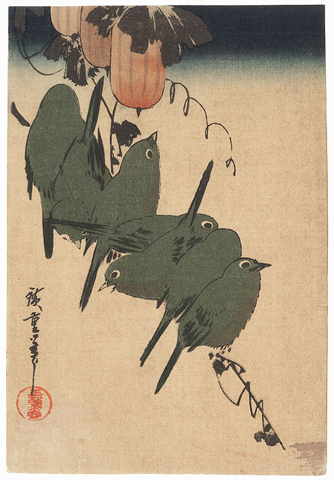 White-eyes and Gourds by Hiroshige (1797 - 1858)