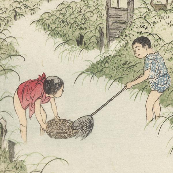 Boys Catching Fish by Shin-hanga & Modern artist (unsigned)