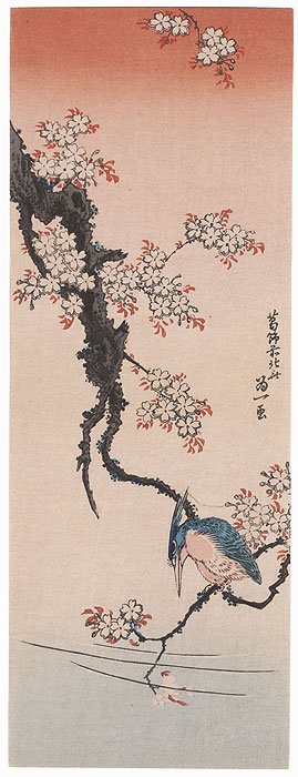 Kingfisher on a Cherry Branch by Hokusai (1760 - 1849)