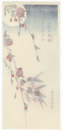 Swallows, Peach Blossoms, and Full Moon by Hiroshige (1797 - 1858)