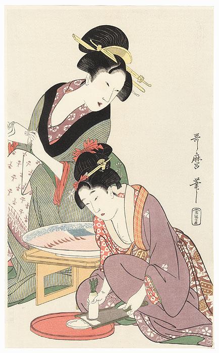 Preparing Wasabi by Utamaro (1750 - 1806)