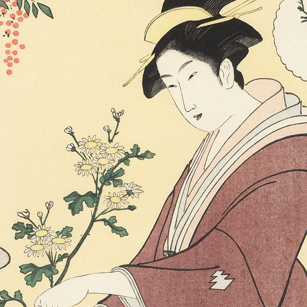 Arranging Flowers by Eishi (1756 - 1829)