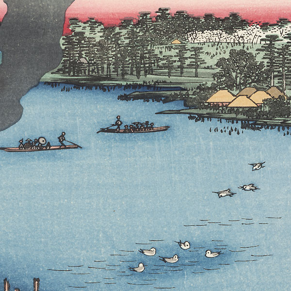 Tile Kilns and Hashiba Ferry, Sumida River by Hiroshige (1797 - 1858)
