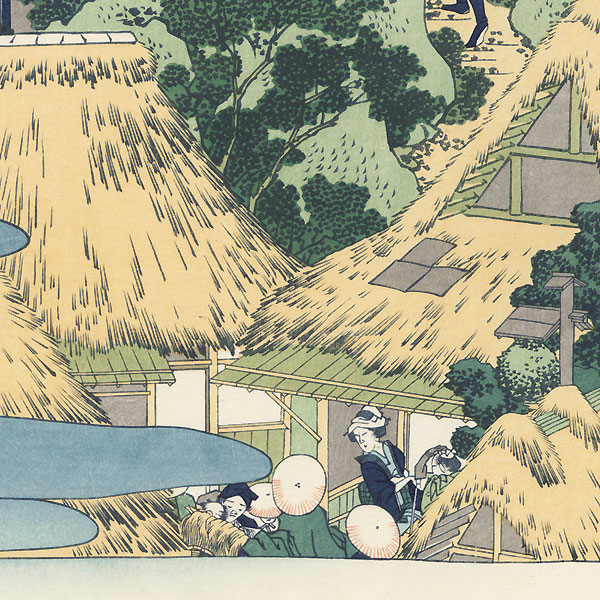 Kiyo Waterfall by the Kannon Shrine at Sakanoshita, Tokaido Road  by Hokusai (1760 - 1849)