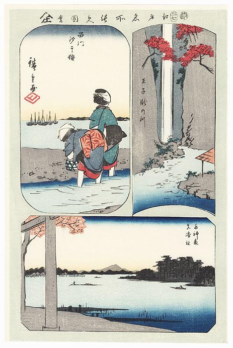 Waterfall River at Oji, Suijin Grove, Shellfish Gathering at Low Tide at Shinagawa, Masaki Inari Shrine by Hiroshige (1797 - 1858)