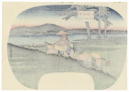 Abe River Fan Print by Hiroshige (1797 - 1858)