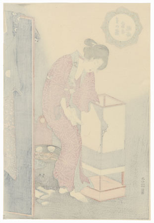 Courtesan Trimming a Lamp  by Toyokuni III/Kunisada (1786 - 1864)