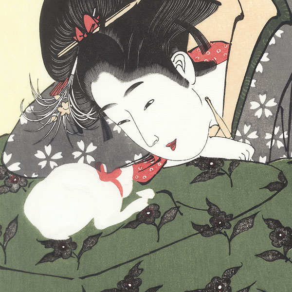 Girl Playing with a Kitten by Kunimasa (1773 - 1810)