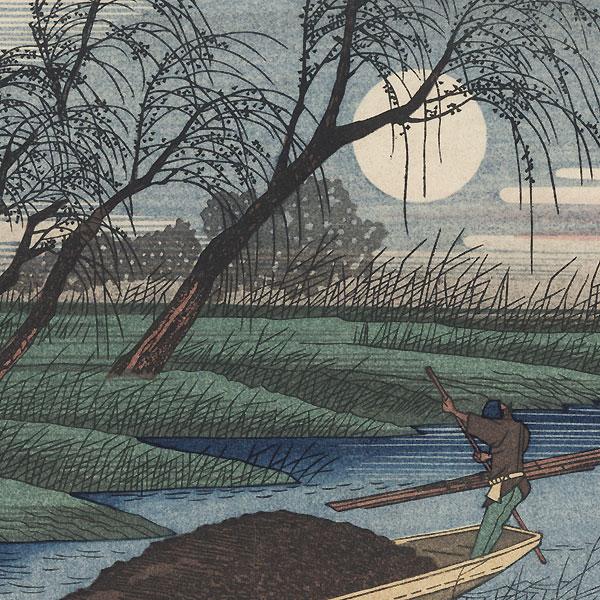 Autumn Moon at Seba by Hiroshige (1797 - 1858)