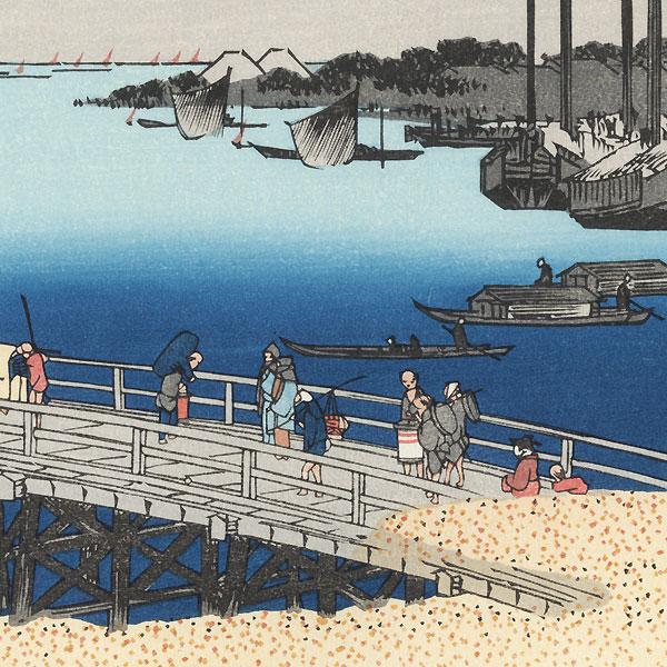 Eitai Bridge and Fishing Boats off Tsukuda Island by Hiroshige (1797 - 1858)