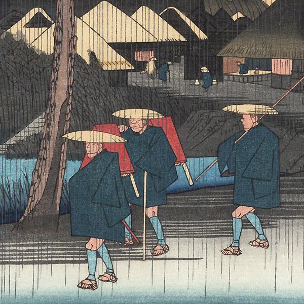 Nakatsugawa on a Rainy Day by Hiroshige (1797 - 1858)