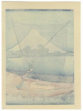Fuji behind a Net by Hokusai (1760 - 1849)