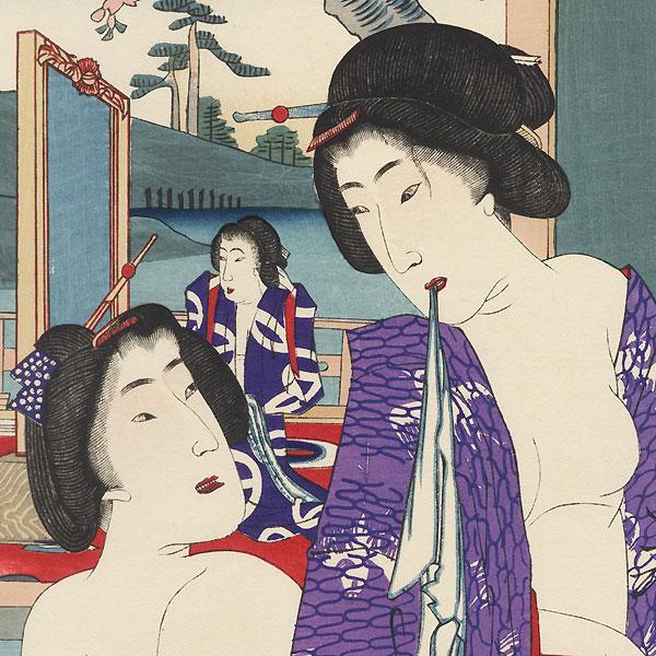 Women Bathing at a Hot Springs by Chikanobu (1838 - 1912)