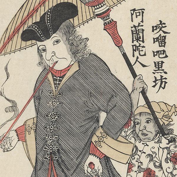 Dutch Man and Servant by Edo era artist (unsigned)