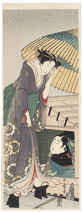 Beauty Boarding a Pleasure Boat Pillar Print by Utamaro (1750 - 1806)