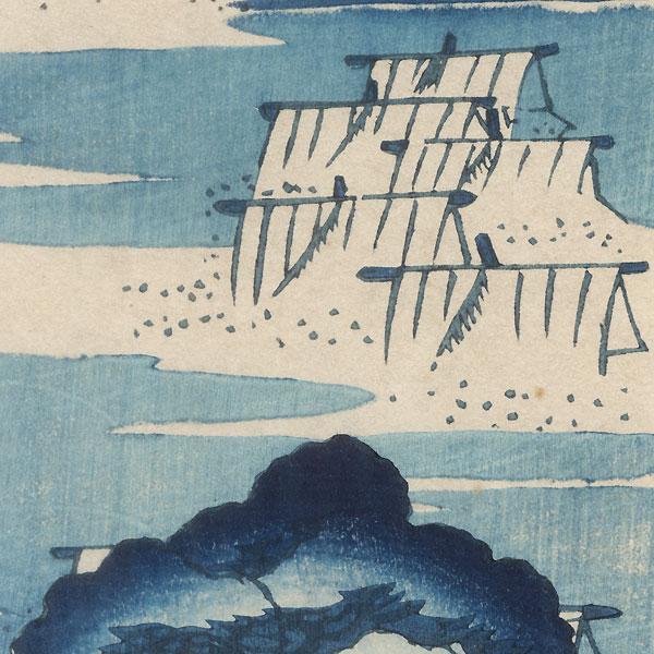 Returning Sails Tanzaku Print by Hokusai (1760 - 1849)