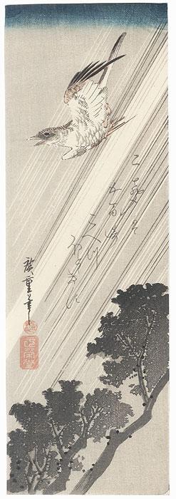 Cuckoo Flying through Rain by Hiroshige (1797 - 1858)