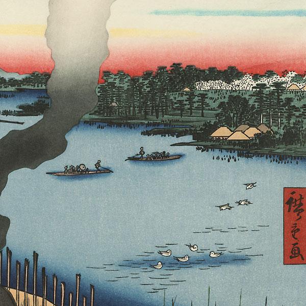 Tile Kilns and Hasiba Ferry, Sumida River by Hiroshige (1797 - 1858)