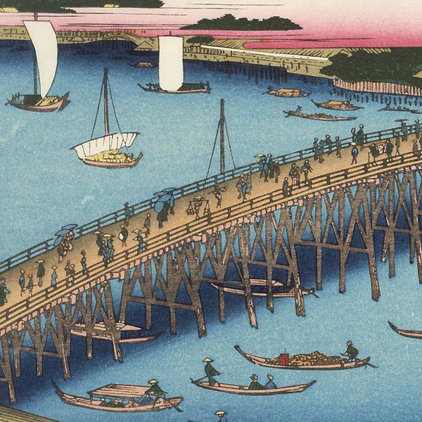 Ryogoku Bridge and the Great Riverbank by Hiroshige (1797 - 1858)
