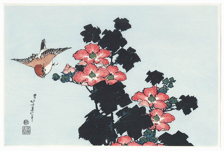 Sparrow and Hibiscus by Hokusai (1760 - 1849)