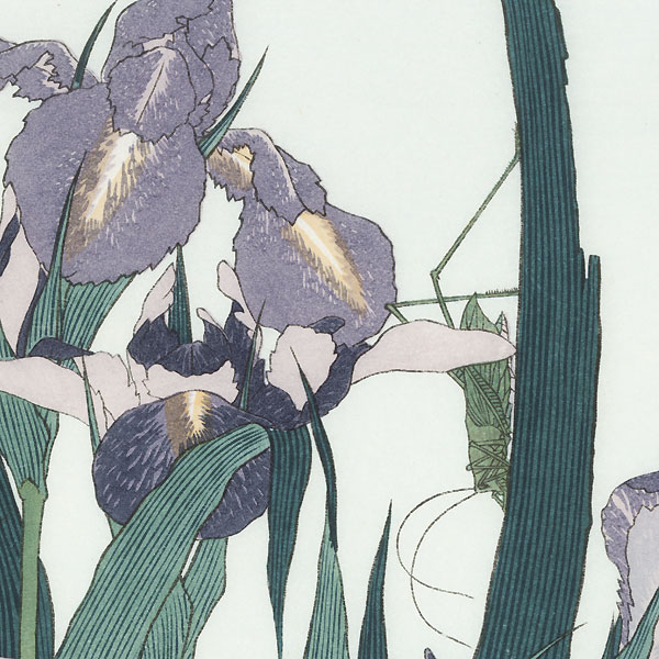 Irises and Grasshopper by Hokusai (1760 - 1849)