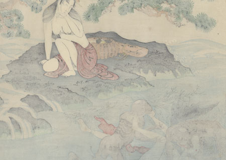 Beauty Being Ravished by Kappa by Utamaro (1750 - 1806)