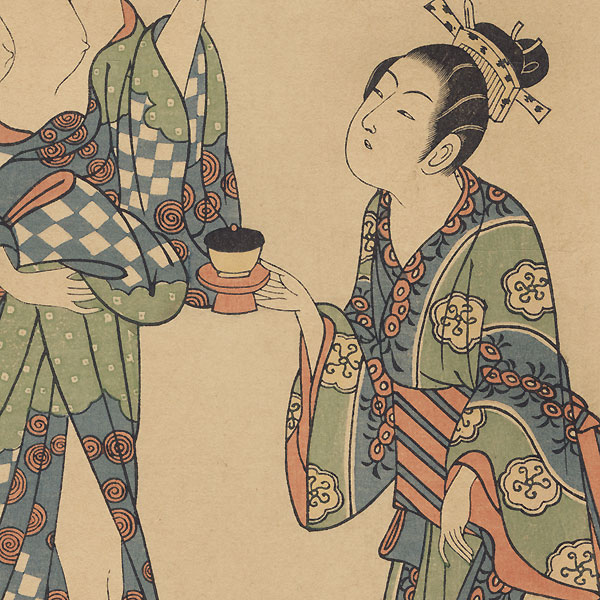 A Courtesan and a Girl Attendant by Toyonobu (1711 - 1785)