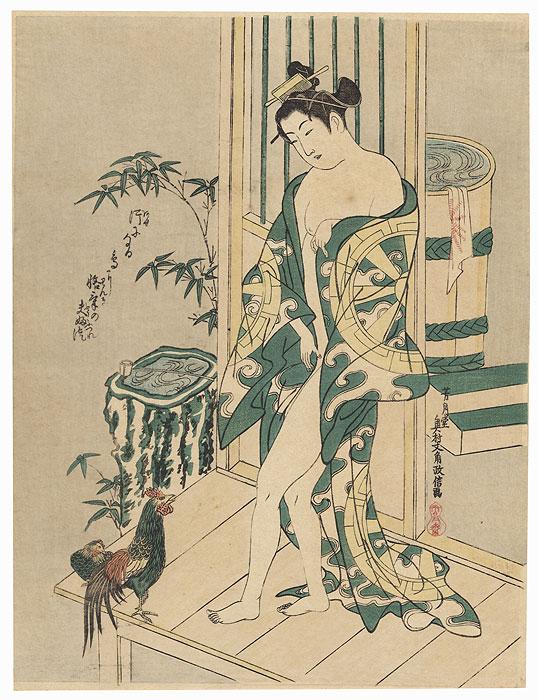 Beauty after a Bath by Masanobu (active circa 1686 - 1764)