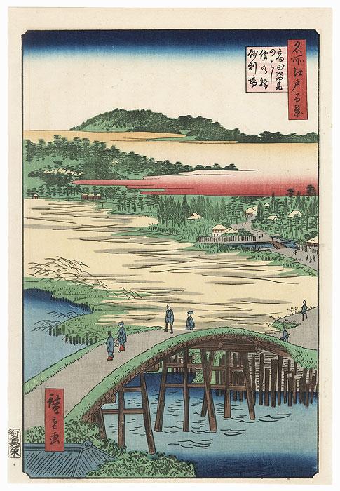 Sugatami Bridge, Omokage Bridge, and Jariba at Takata by Hiroshige (1797 - 1858)