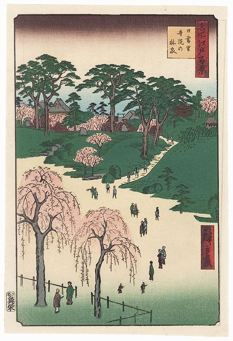 Temple Gardens, Nippori by Hiroshige (1797 - 1858)