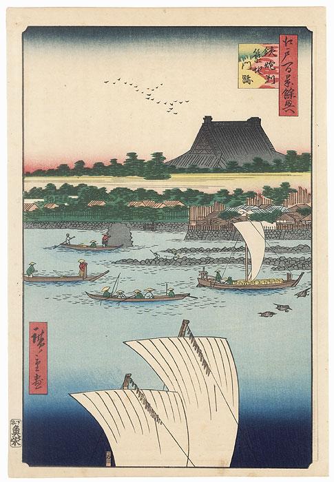 Teppozu and Tsukiji Honganji Temple by Hiroshige (1797 - 1858)