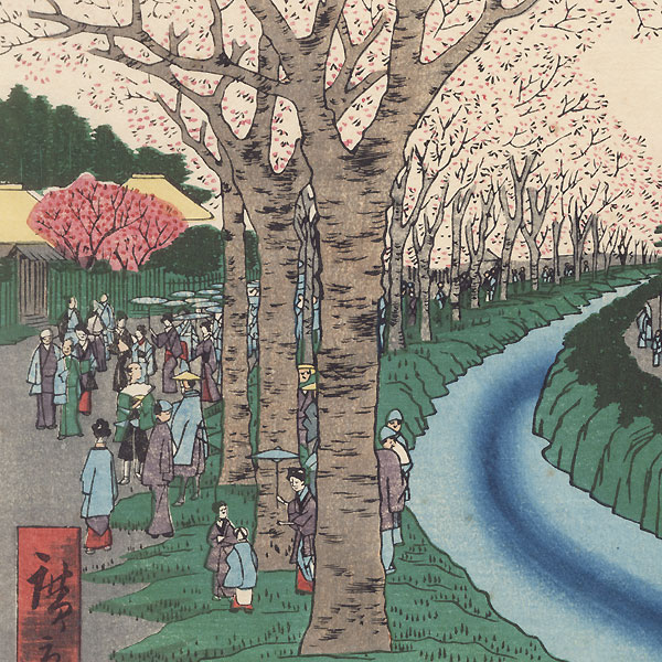 Blossoms on the Tama River Embankment by Hiroshige (1797 - 1858)