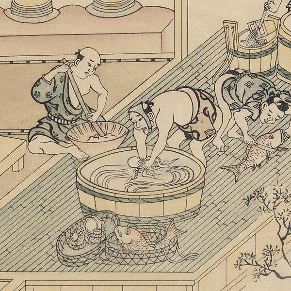 The Kitchen of a Joroya (Brothel), 1915 Watanabe Reprint by Moronobu (1618 - 1694)