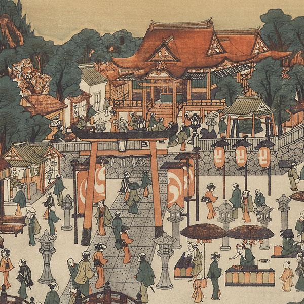 Fukagawa Hachiman Shrine in Edo, 1915 Watanabe Reprint by Toyoharu (1735 - 1814)