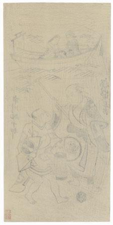 Ichikawa Sukejuro and Sakuryama Shirogoro, 1915 Watanabe Reprint by Edo era artist (unsigned)