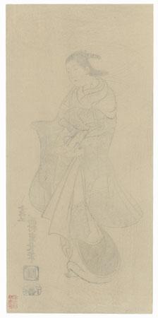 Courtesan, 1915 Watanabe Reprint by Shigenaga (circa 1697 - 1756)
