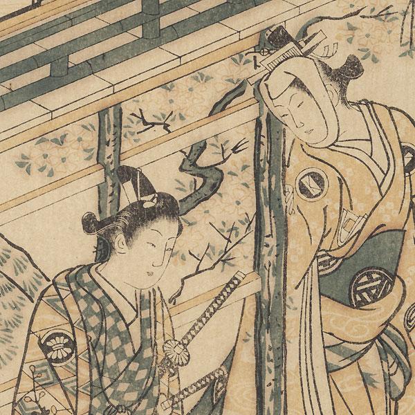 Beauty and Samurai Carrying a Pail of Flowers, 1915 Watanabe Reprint by Masanobu (active circa 1686 - 1764)