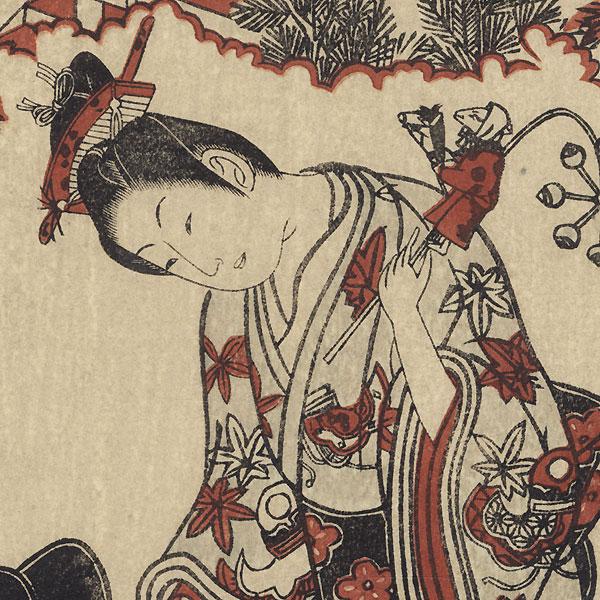 Visiting Oji Shrine, 1915 Watanabe Reprint by Toyonobu (1711-1785)