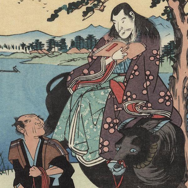 Riding an Ox by Hiroshige (1797 - 1858)