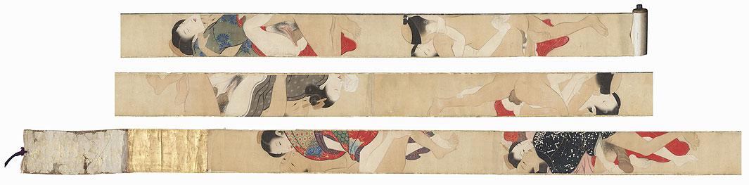 Sodo no maki Hand-painted Shunga Scroll - 12 images by After Kiyonaga