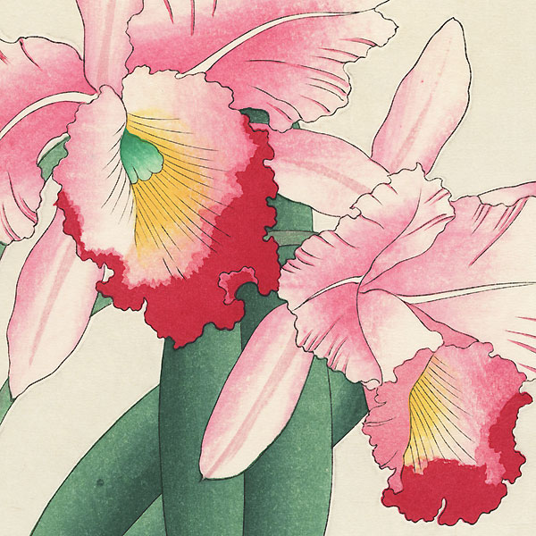 Pink and Red Orchids by Kawarazaki Shodo (1889 - 1973)