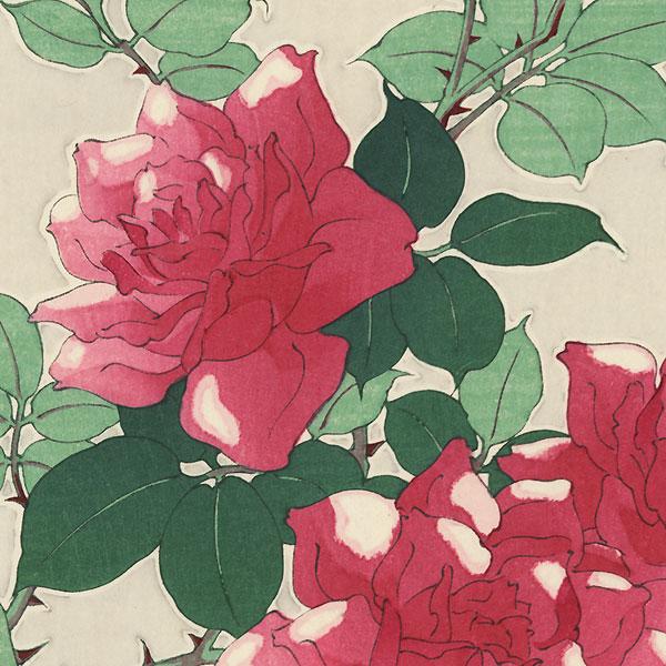 Pink Roses by Kawarazaki Shodo (1889 - 1973)