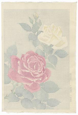 Pink and Yellow Roses by Kawarazaki Shodo (1889 - 1973)