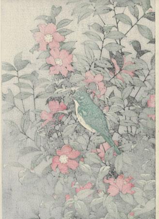 Camellia and Bird by Toshi Yoshida (1911 - 1995)